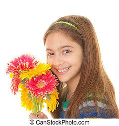 enfant, fleurs, tas