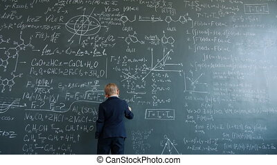 enfant, formules, collège, tableau noir, mouvement, mur, ...