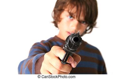 enfant, fusil, crime