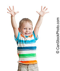 enfant garçon, haut, isolé, fond, mains, blanc