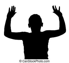 enfant garçon, haut, isolé, mains, geste