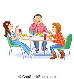 enfant garçon, nutrition, themselves., repas, bannière, manger petit déjeuner, heureux, filles, avoir, deux, aviateur, vecteur, site web, affiche, illustration, gosses, table., matin, concept.
