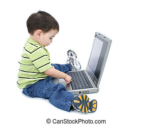 enfant garçon, ordinateur portable