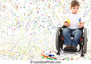 enfant garçon, peinture, fauteuil roulant