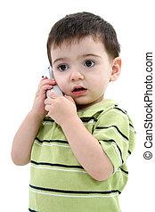 enfant garçon, téléphone