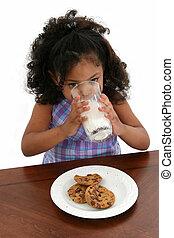 enfant, girl, biscuits