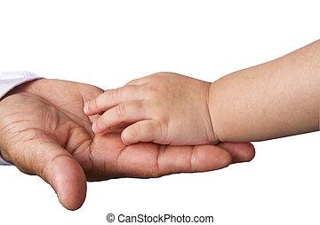 enfant, grand, père, portées, main, grandiose, petit, ou,...