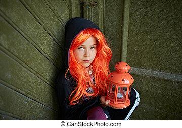 enfant, halloween, lanterne