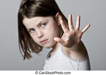 enfant, haut, elle, main