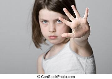 enfant, haut, main
