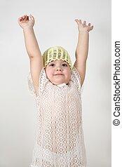 enfant, haut, mains