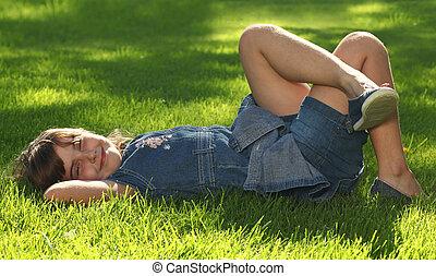 enfant, herbe, dehors