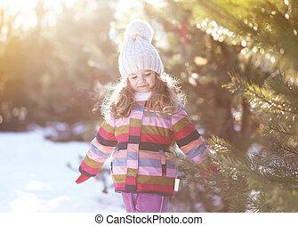 enfant, hiver, jour