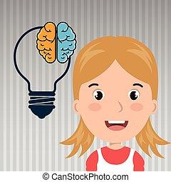 enfant, idée, étudiant, icône