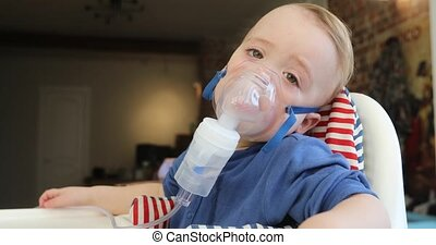 enfant, inhalation, 1, masque, nebulizer, année, vapeur