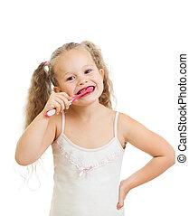 enfant, isolé, nettoyage, fond, dents, girl, blanc