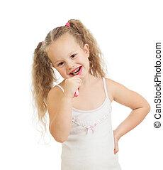 enfant, isolé, sourire, nettoyage, fond, dents, girl, blanc