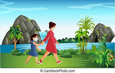 enfant, jardin, marche, mère, elle