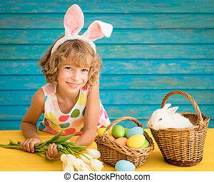 enfant, lapin pâques, jouer