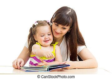 enfant, livre, lecture, mère