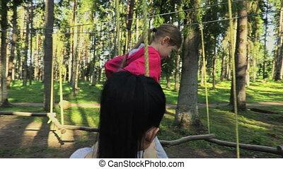 enfant, mère, cour de récréation, aventure