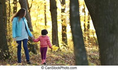 enfant, mère, promenade