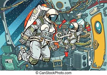 enfant, mère, vaisseau spatial