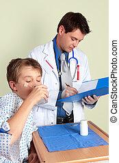enfant malade, prenant médicament