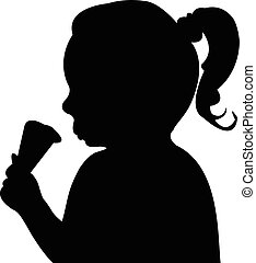 enfant mange, silhouette, glace