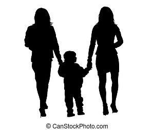 enfant, marche famille, deux