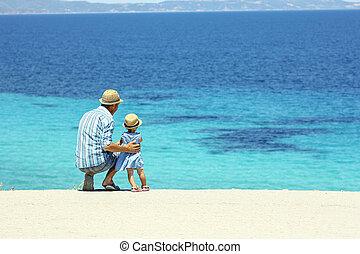 enfant, mer, père