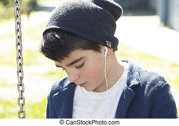 enfant, musique écouter, dehors