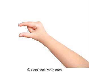 enfant, objet, isolé, tenant main