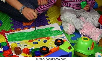 enfant, papier, peinture, mère
