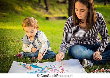 enfant, parc, fils, mère, peinture, heureux
