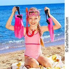 enfant, plage., jouer