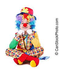 enfant, plancher, clown, séance