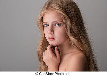 enfant, poser, joli, rêveusement