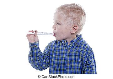 enfant, prenant médicament