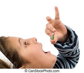 enfant, prendre, pilule
