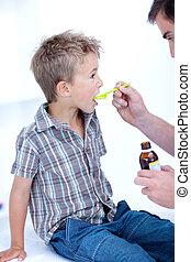 enfant, prendre, toussez médicament
