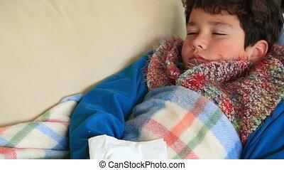 enfant, reposer, malade, maison, grippe