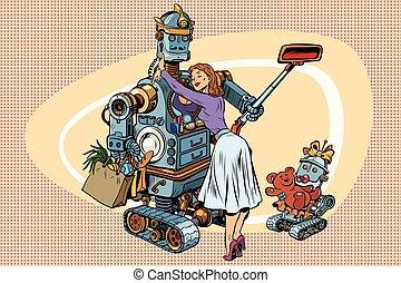 enfant robot, vendange, famille, retro, épouse, papa