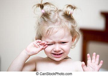 enfant, séance, cri, haut, lit, triste, bedroom., temps, portrait, girl, réveiller, unhappy., gosse