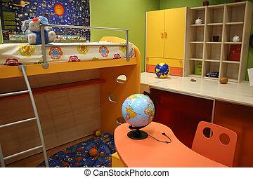 enfant, salle, 2