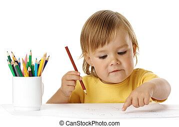 enfant, sien, dessin, points