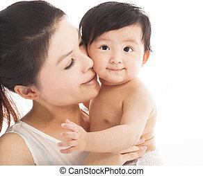 enfant, tenue, mère, bébé, sourire heureux