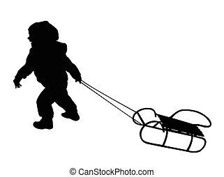 enfant, traction, traîneau, silhouette