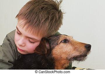 enfant triste, à, les, chien
