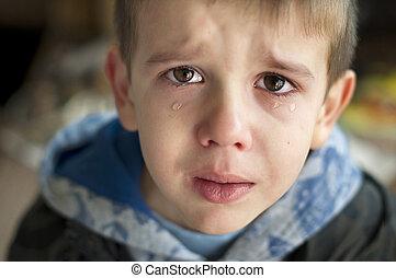 enfant triste, qui, est, pleurer